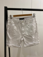 White Trashed Roll Up Short