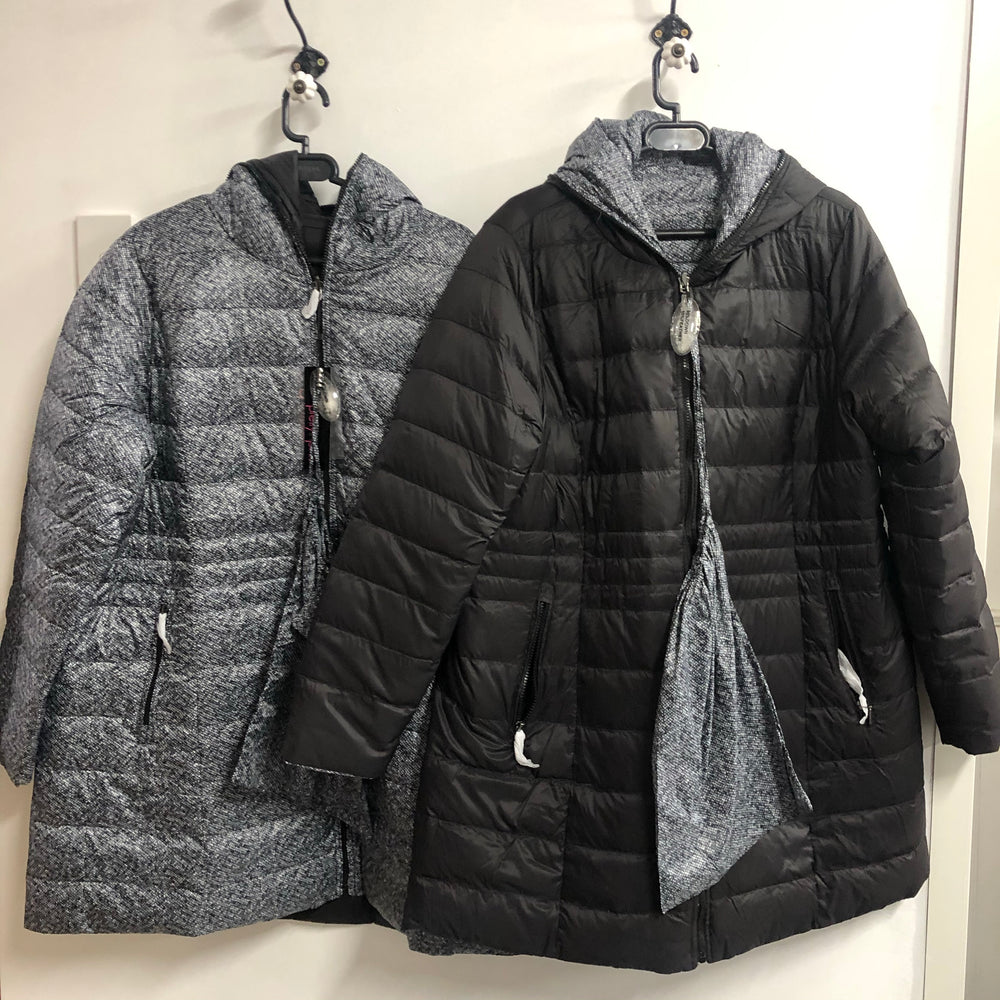 The Reversible 3/4 Feather Down Jacket - Speckle