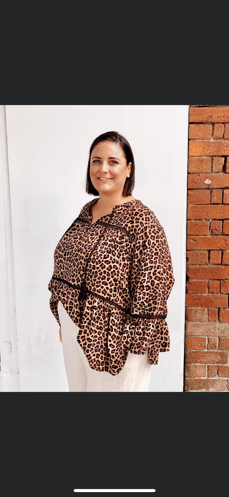 Leopard Print Gathered Top