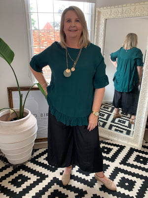 Load image into Gallery viewer, The Lacey Frill Top - Emerald
