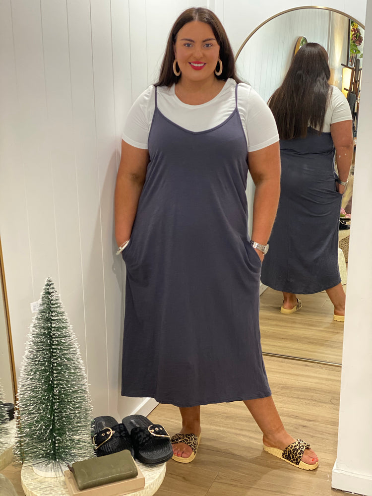 Everyday Singlet Midi Dress - Slate