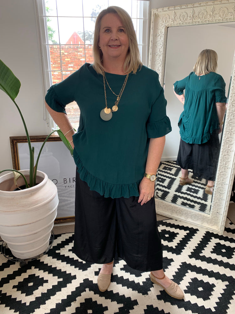 The Lacey Frill Top - Emerald