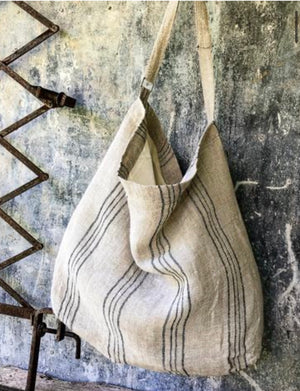 Oversized Linen Bag - Light Natural + Black Stripe