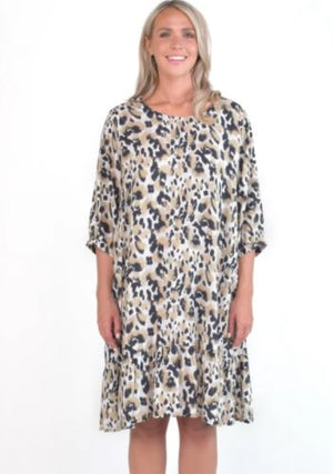 Flare Dress in Jungle Leopard