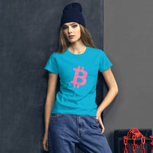 Load image into Gallery viewer, BITCOIN 'B' PINK Women's short sleeve t-shirt - moeda-rags