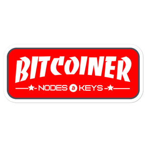 BITCOINER - RED - Bitcoin Bubble-free stickers - moeda-rags
