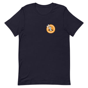 'FUN WITH BITCOIN' PODCAST' with BACK logo Short-Sleeve Unisex T-Shirt