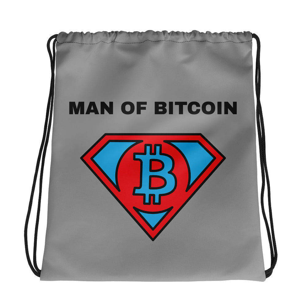 MAN OF BITCOIN Drawstring bag - moeda-rags