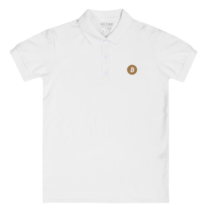 BITCOIN LOGO Embroidered Women's Polo Shirt - moeda-rags