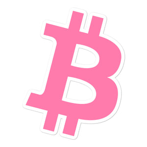BITCOIN 'B' PINK stickers - moeda-rags
