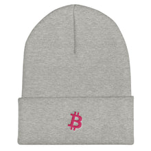 Load image into Gallery viewer, Bitcoin 'B' logo PINK Cuffed Beanie - moeda-rags