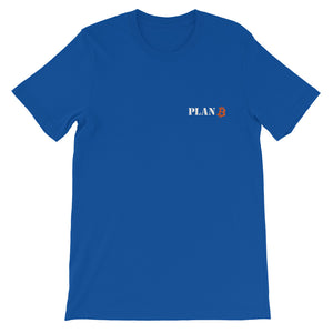 PLAN B EMBROIDERED Bitcoin Short-Sleeve Unisex T-Shirt - moeda-rags