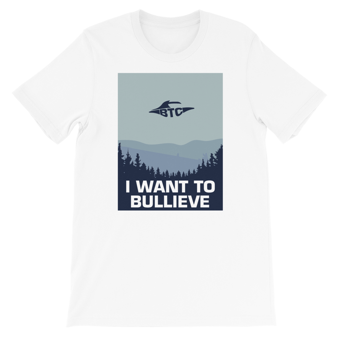 I WANT TO BULLIEVE Short-Sleeve Unisex Discrete Bitcoin T-Shirt