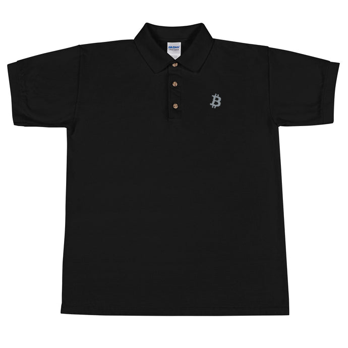 Embroidered Bitcoin 'B' Polo Shirt - moeda-rags