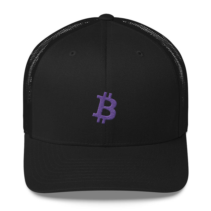 Bitcoin 'B' PURPLE Trucker Cap - moeda-rags