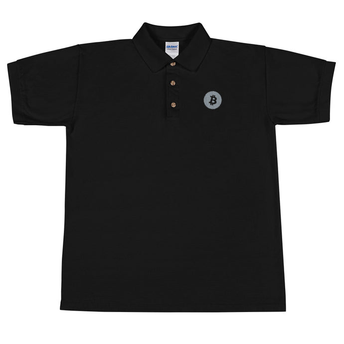 BITCOIN LOGO Embroidered UNISEX Polo Shirt - moeda-rags