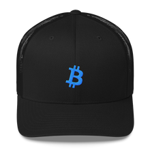 Load image into Gallery viewer, Bitcoin 'B' BLUE Trucker Cap - moeda-rags
