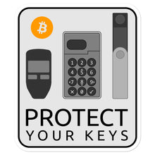 Load image into Gallery viewer, 'Protect your Keys' Bitcoin hardware wallet stickers - moeda-rags