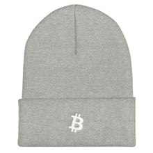 Load image into Gallery viewer, Bitcoin 'B' logo WHITE Cuffed Beanie - moeda-rags