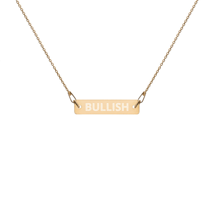 BULLISH Engraved Silver Bar Chain Necklace - moeda-rags