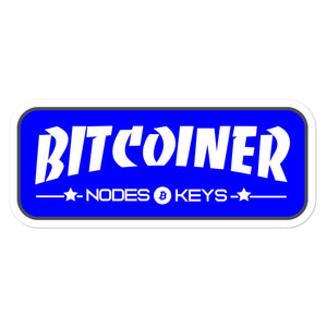 BITCOINER - BLUE - Bitcoin Bubble-free stickers - moeda-rags