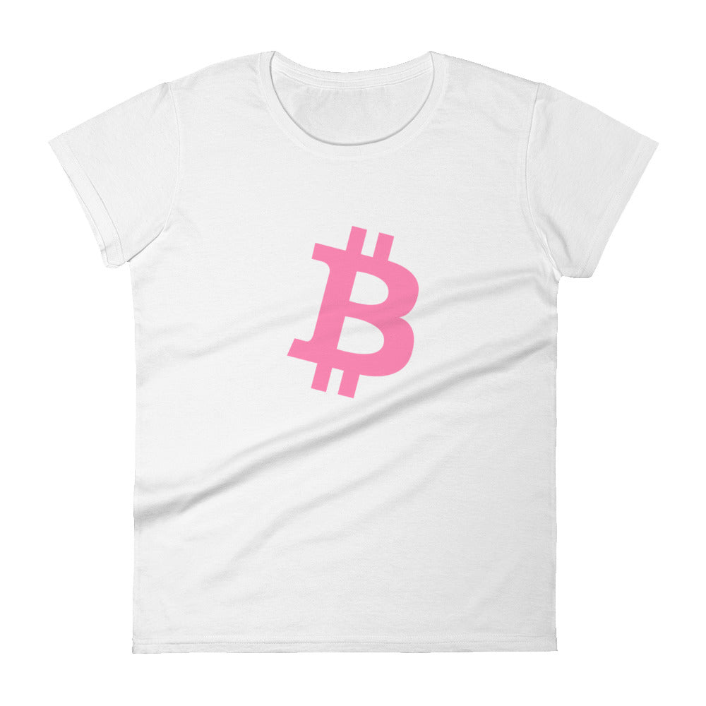 BITCOIN 'B' PINK Women's short sleeve t-shirt - moeda-rags