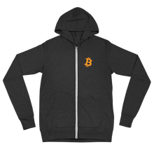 Load image into Gallery viewer, Bitcoin zip up hoodie - Moeda Rags