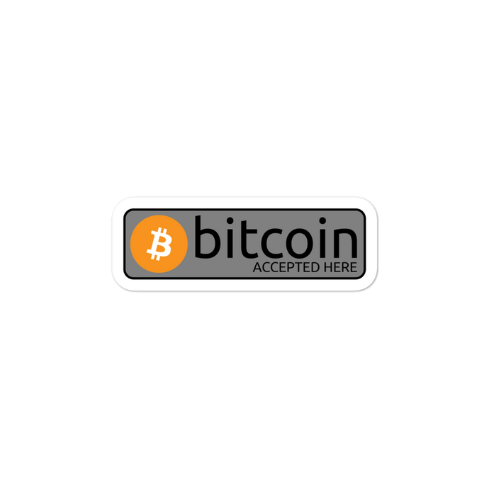 Classic 'bitcoin accepted here' orange Bitcoin stickers - moeda-rags