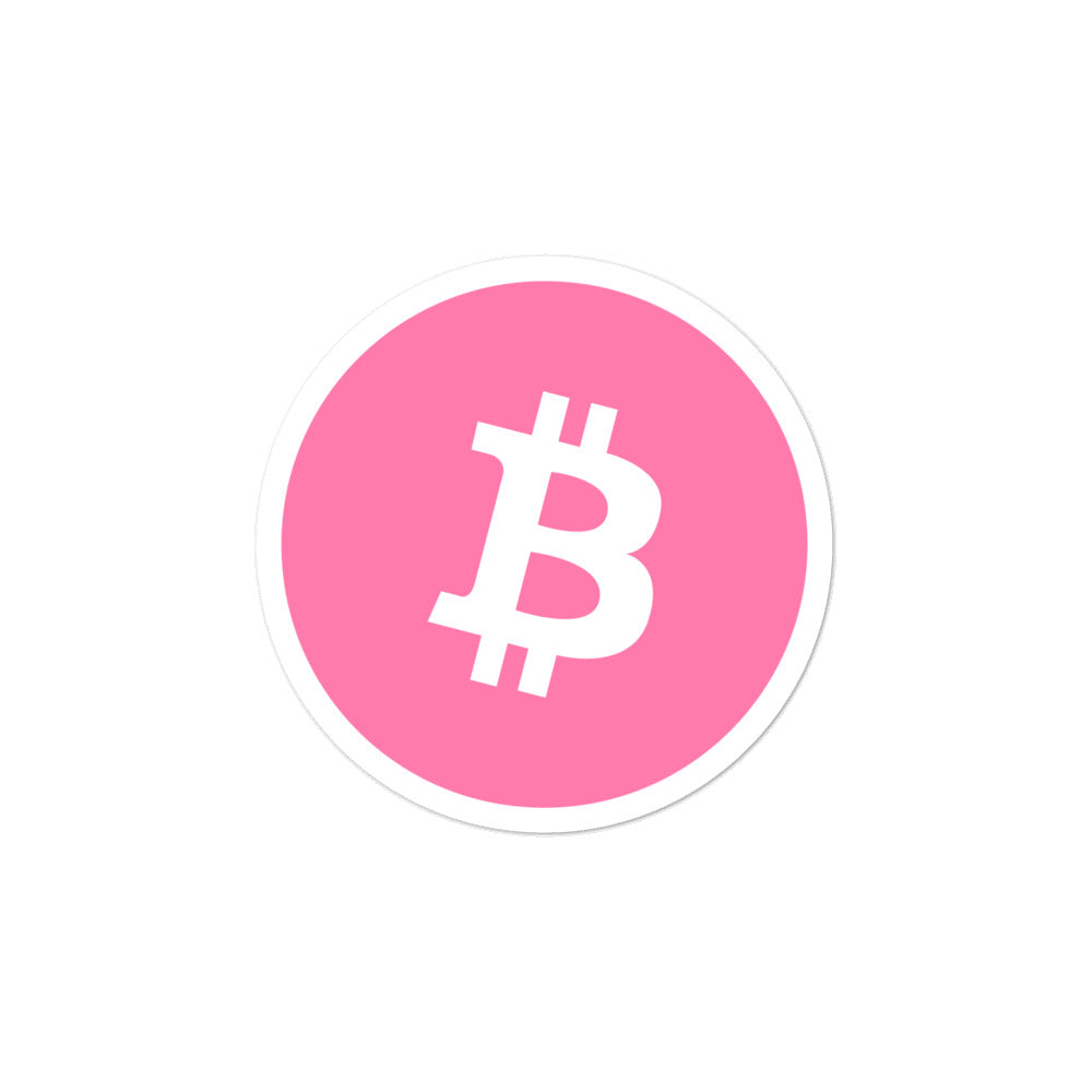 PINK BTC Bubble-free stickers - moeda-rags