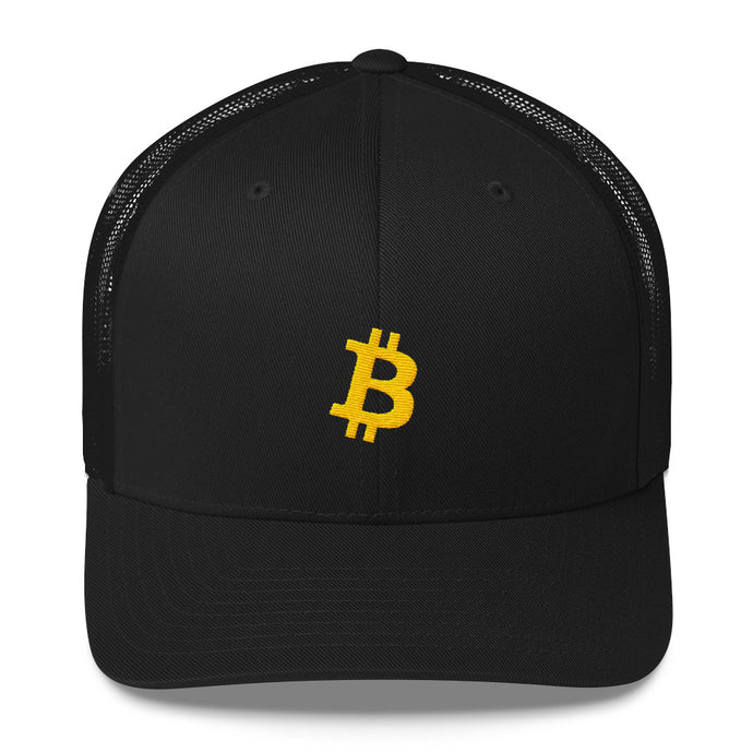 Bitcoin 'B' YELLOW Trucker Cap - moeda-rags