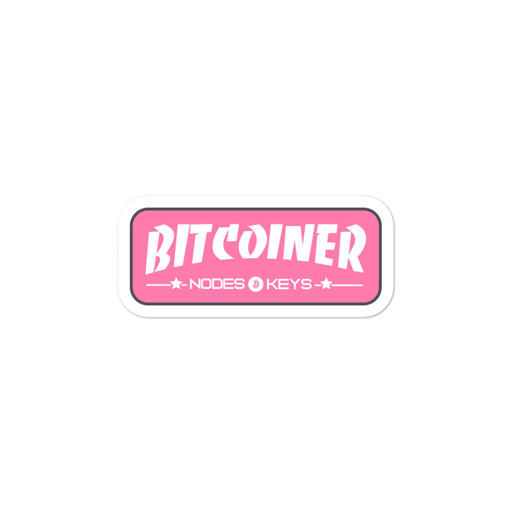 BITCOINER - PINK - Bitcoin Bubble-free stickers - moeda-rags