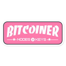 Load image into Gallery viewer, BITCOINER - PINK - Bitcoin Bubble-free stickers - moeda-rags