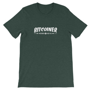 BITCOINER WHITE TEXT Short-Sleeve Unisex T-Shirt - moeda-rags