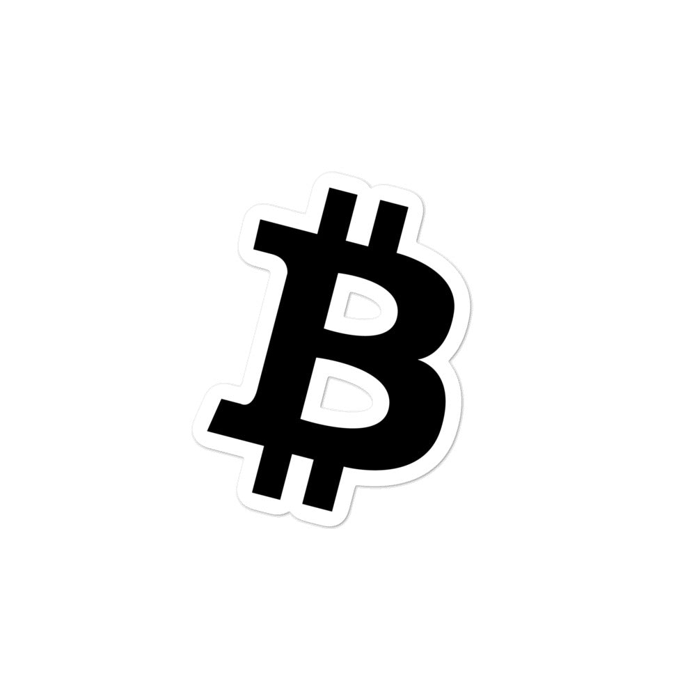 BITCOIN 'B' BLACK stickers - moeda-rags