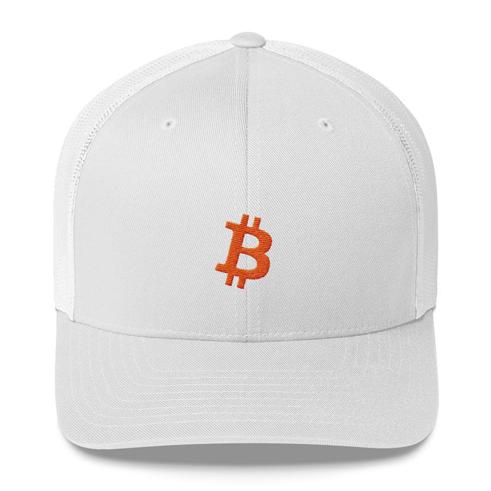 Bitcoin 'B' ORANGE Trucker Cap - moeda-rags