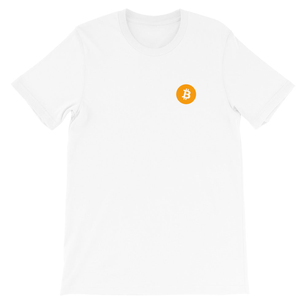 DISCRETE BTC ORANGE Short-Sleeve Unisex BITCOIN T-Shirt - moeda-rags