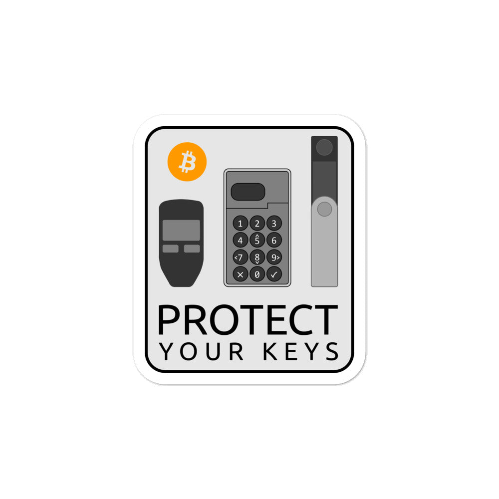 'Protect your Keys' Bitcoin hardware wallet stickers - moeda-rags