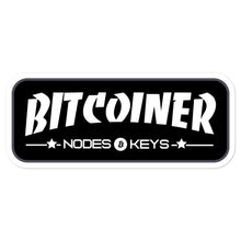 Load image into Gallery viewer, BITCOINER - BLACK - Bitcoin Bubble-free stickers - moeda-rags