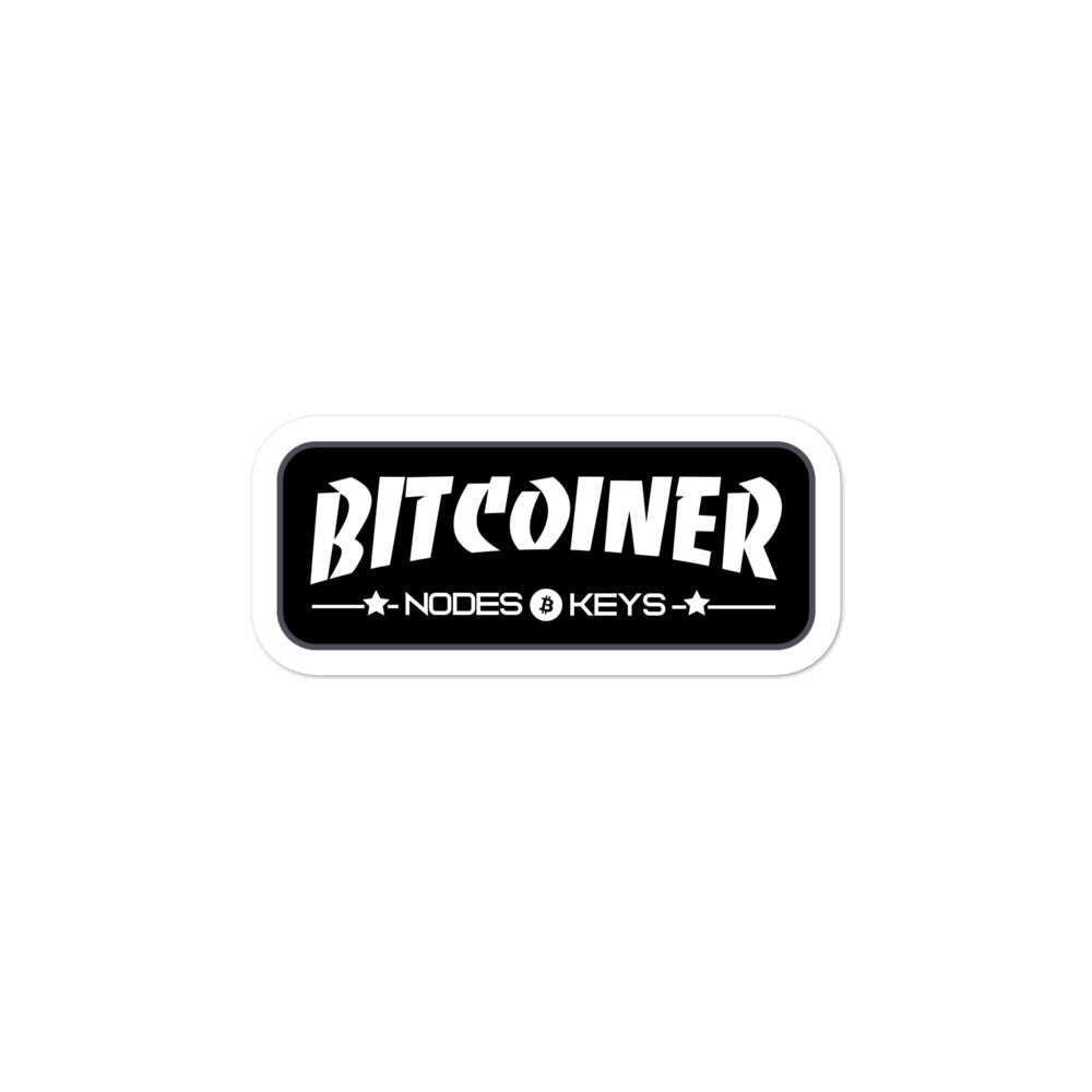 BITCOINER - BLACK - Bitcoin Bubble-free stickers - moeda-rags