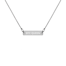 Load image into Gallery viewer, BTC QUEEN Engraved Silver Bar Chain Necklace - moeda-rags