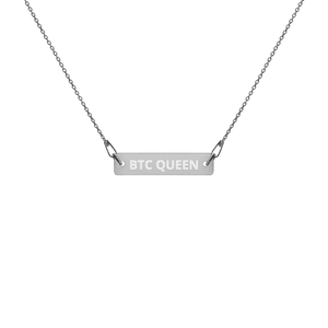 BTC QUEEN Engraved Silver Bar Chain Necklace - moeda-rags