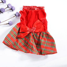Load image into Gallery viewer, Dog Cat Dresses Christmas Princess Party Red Sequins Dress Clothes Pet Dog Plaid Bow Apparel