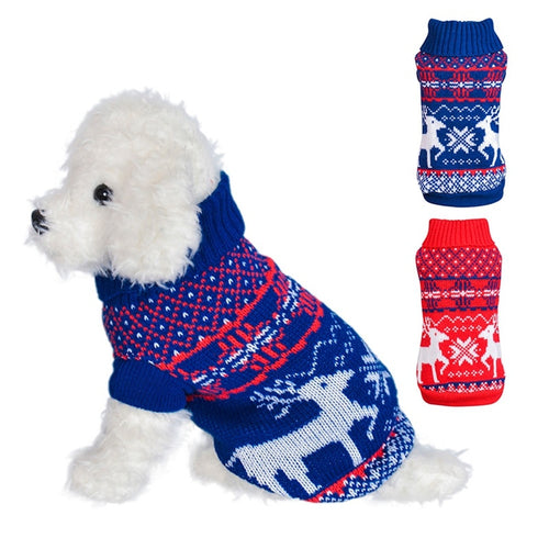 Dog Elk Printed Sweater Pet Christmas Clothes Dog Autumn Winter Warm Knitting Coat Puppy Small And Medium Dogs Outfit