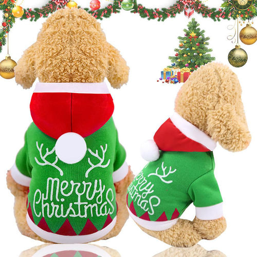 HobbyLane Xmas Christmas Warm Hooded 2 Feet Coat for Pet Dogs Cats Autumn Winter Wear Pet Jacket Dress Pet Decoration
