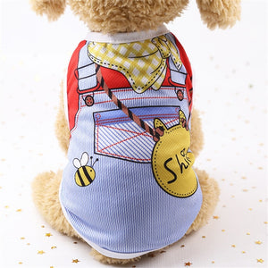 New Summer 5 Colors Lovely Cartoon Dog Vest Cool Breathable Sunscreen Clothes for Puppy Chihuahua Cat Clothing Pet Supplies