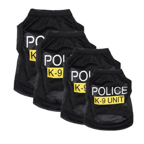 Police Suit Cosplay Dog Clothes Black Elastic Vest Puppy T-Shirt Coat Accessories Apparel Costumes  Pet Clothes for Dogs Cats