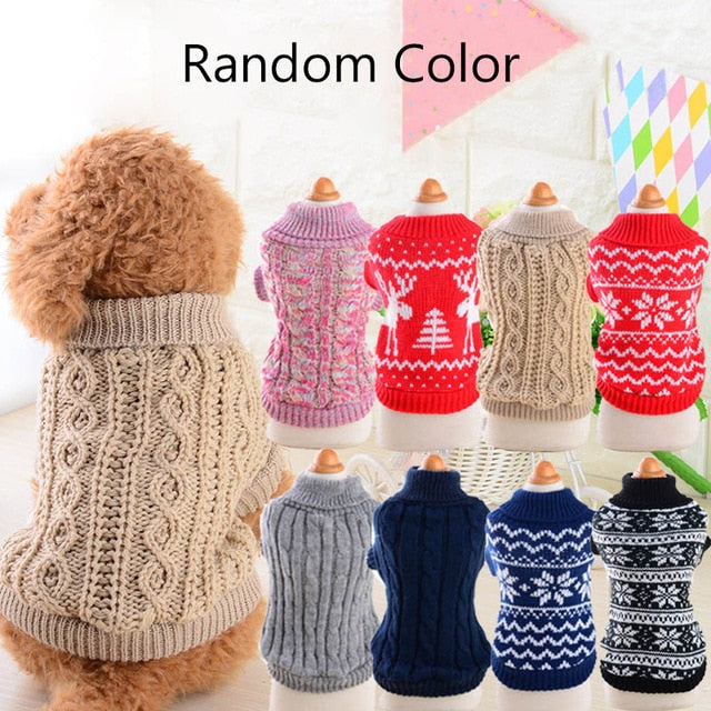 Random Color Pet Dog Winter Keep Warm Jumper Sweater Clothes Puppy Cat Knitwear Coat Free Size Suit For 0.5-1.5kg Pet #258321