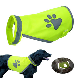 Reflective Dog Vest Clothes High Visibility Small Large Dogs Safety Vests Harness For Outdoor Hiking Walking With Paw