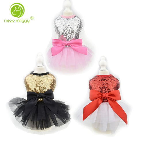 Cute Bling Dog Puppy Bow Dress Tutu Skirt Dog Pet Cat Luxury Princess Wedding Party Dress Summer Dog Chihuahua Clothes