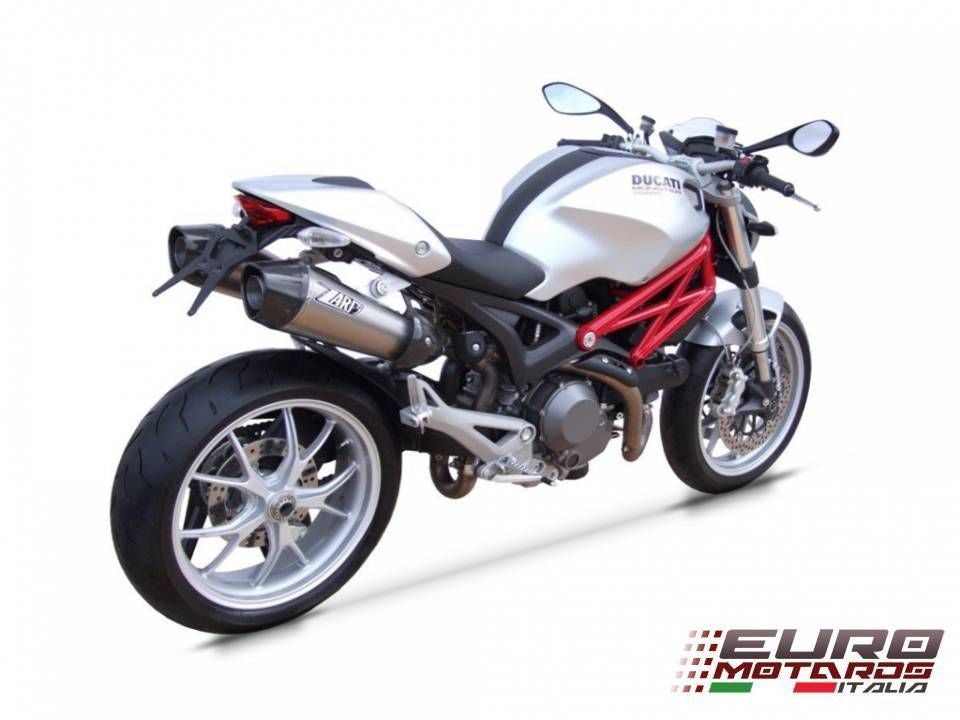 Ducati Monster 696 796 1100 Zard Exhaust Dual Slipon Conical Carbon Caps +2.5HP